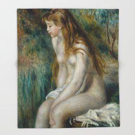 "Renoir ""Young girl bathing"" Throw Blanket"