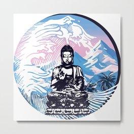Buddha Tropical Mountain Wave Metal Print