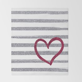 Red Heart on Shiny Silver Stripes Throw Blanket