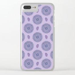 Mandala Paisley Block Print Purple Clear iPhone Case