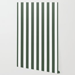 Gray-asparagus green - solid color - white vertical lines pattern Wallpaper