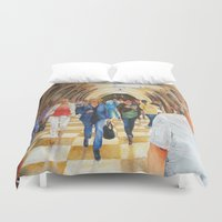 moscow Duvet Covers featuring Moscow Metro by Eli Gross Art