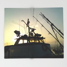 Fishing At Dawn Throw Blanket