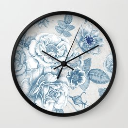 Blue Flower Anely Wall Clock