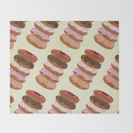 Stacked Donuts on Cream Throw Blanket