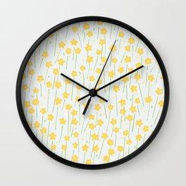 Buttercup Field M+M Evergreen by Friztin Wall Clock