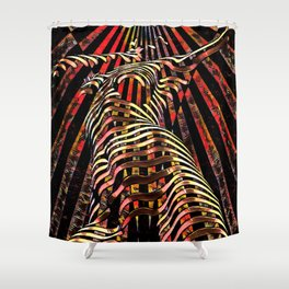 7068-KMA Abstract Feminine Spirit Zebra Striped Woman Powerful Colorful Fine Art Nude Shower Curtain