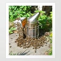 Honey Bees with Smoker Art Print