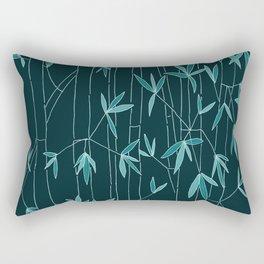 Bamboo Sketch in Dark Blue Rectangular Pillow