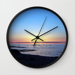 Sun Sets up the River, Across the Sea Wall Clock