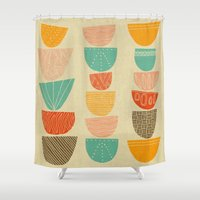 60s Shower Curtains featuring Stacks by Monica Gifford