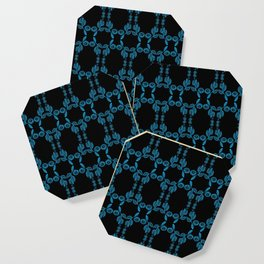 Hand drawn Seed Pods Bright Blue on Black Coaster