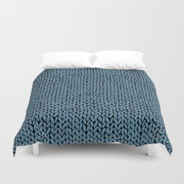 Hand Knit Niagra Blue Duvet Cover