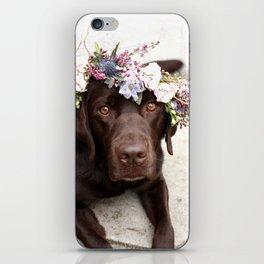 Flower Crown Beautiful Dog Portrait iPhone Skin