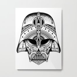 Mandala Darth Vader - Black. The big baddy from StarWars™. Metal Print