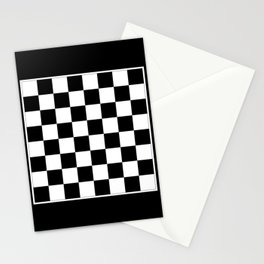 Vintage Chessboard & Checkers - Black & White Stationery Cards