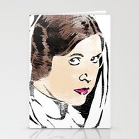 princess leia Stationery Cards featuring Leia by Hey!Roger