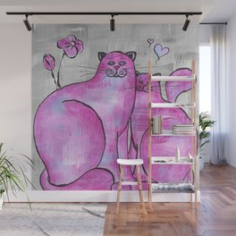 Pink Cats In Love Original Painting Wall Mural