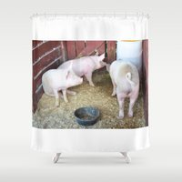 pig Shower Curtains featuring Pig by lanjee