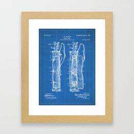 Golf Bag Patent - Caddy Art - Blueprint Framed Art Print