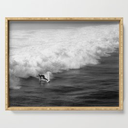 Lone Surfer in Black and White Serving Tray