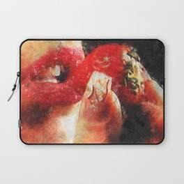 Sexy woman eating a strawberry Laptop Sleeve