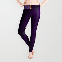Purple, Lilac and Glitter Gold Agate Marble Leggings