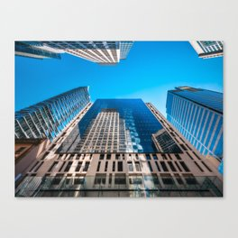Looking up from George street at major City Towers in Sydney Canvas Print