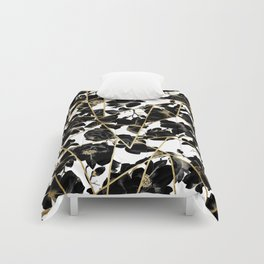 Geometric Abstract Black Floral Gold Triangles Comforters