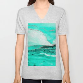 Caribbean Sea Teal Marble Waves Seascape Unisex V-Neck