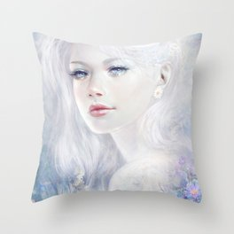 Snow white hair ice girl Throw Pillow