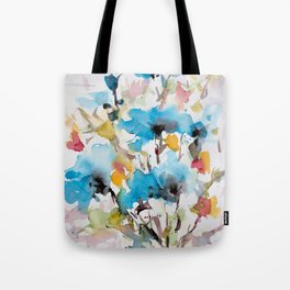 Abstract flowers in blue Tote Bag