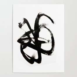 Brushstroke 4 - a simple black and white ink design Poster