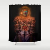 spaceman Shower Curtains featuring Spaceman by L. A. Tara