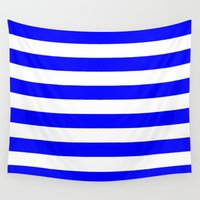stripes Wall Tapestries featuring Horizontal Stripes (Blue/White) by 10813 Apparel