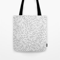 polkadot Tote Bags featuring Polkadot Dominos by chelsea dawn brown