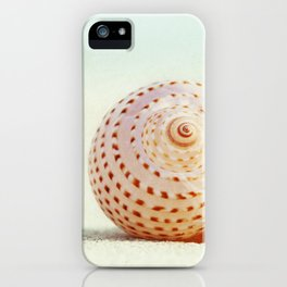 Seashell Beach Photography, Shell Coastal Photo, Peach Mint Seashells Print iPhone Case