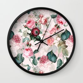 Vintage & Shabby Chic - Summer Blush Roses Flower Garden Wall Clock