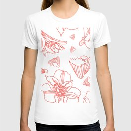 Pink Lily Flower Pattern on White T-shirt