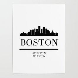 BOSTON MASSACHUSETTS BLACK SILHOUETTE SKYLINE ART Poster