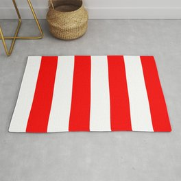 Large Red and White Candy Cane Vertical Stripes Rug