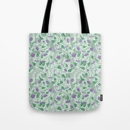 Purple morning glory with ornaments on light green background Tote Bag