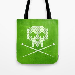 Knitted Skull / Knitting with Attitude (white on apple green) Tote Bag