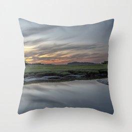 Ocean River Sunset in Essex Throw Pillow