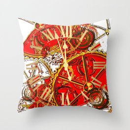 RED-WHITE ABSTRACT GOLDEN STEAMPUNK CLOCK WORKS Throw Pillow