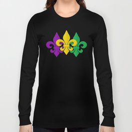 Mardi Gras Fleur-de-Lis Pattern Long Sleeve T-shirt