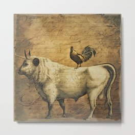 Rooster and the Cow Metal Print