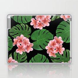 Tropical Floral Print Black Laptop & iPad Skin