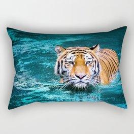 Tiger in Water Rectangular Pillow