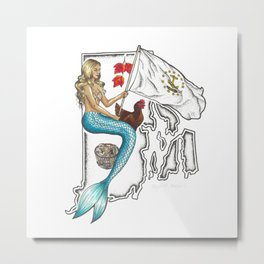 Rhode Island Mermaid Metal Print